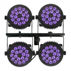 4x18x6W High power UV Blacklight - RGBWA 6in1 LED alu par, (set van vier)